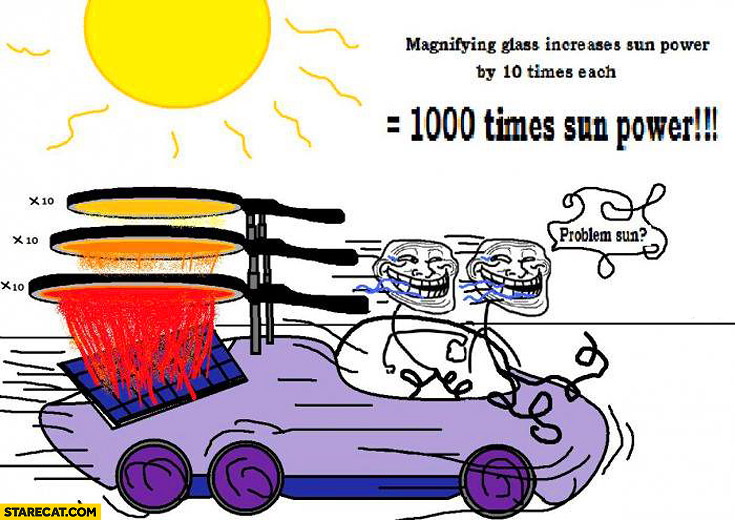 Magnyfying glass increases sun power by 10 times 1000 times sun power genius