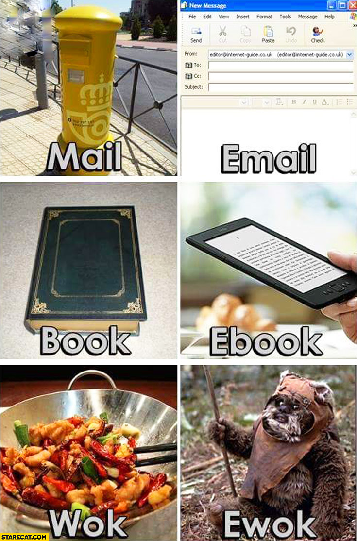 Mail e-mail, book ebook, wok ewok