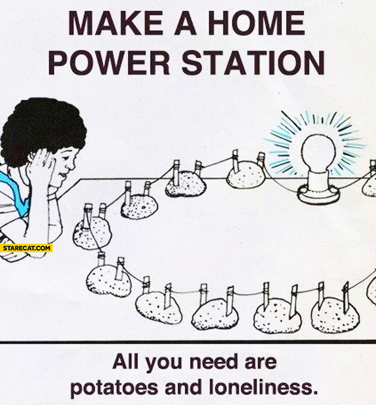 Make a home power station all you need are potatoes and loneliness