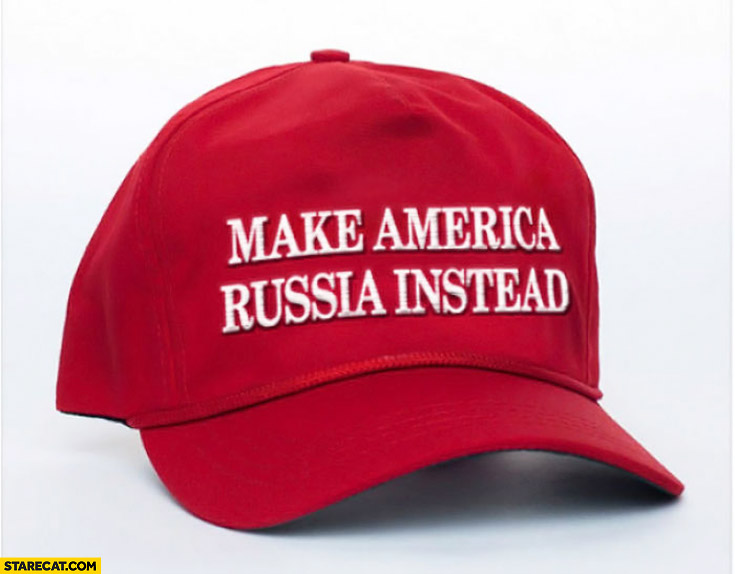 Make America Russia instead MAGA make America great again hat cap photoshopped