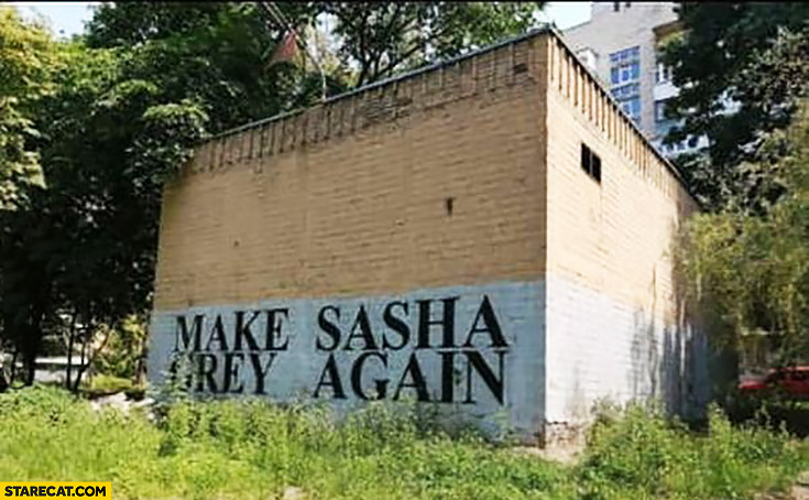 Make Sasha Grey again written on a wall