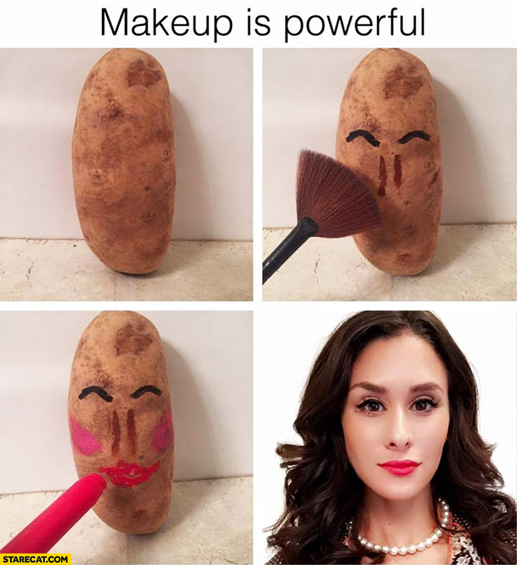 Makeup is powerful potato transformed into a beautiful girl