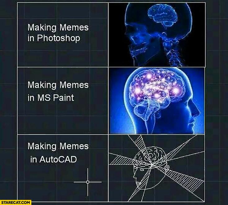 Making memes in Photoshop vs making memes in MS Paint vs making memes in AutoCad brain meme