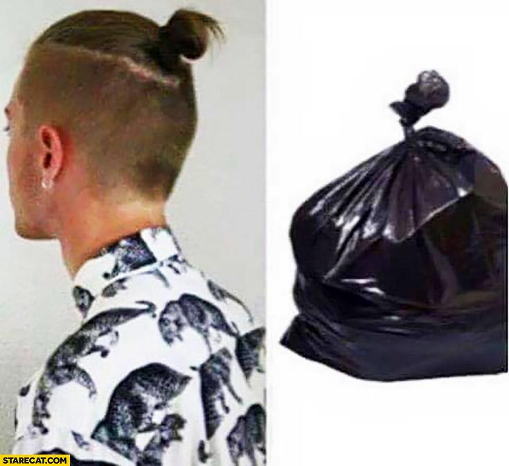 Man bun looking like garbage bag comparison