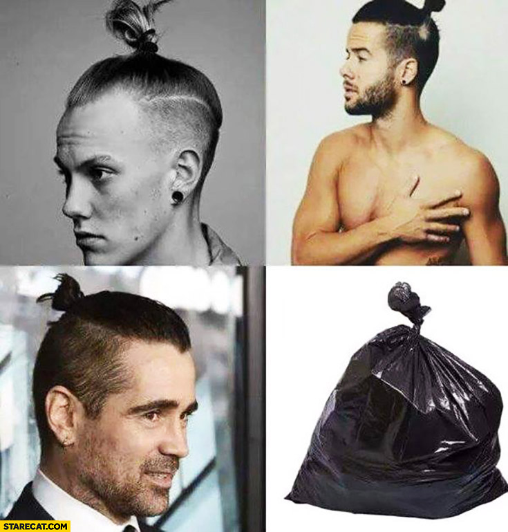 Man bun top knot looking like bin bag trash. Colin Farrell