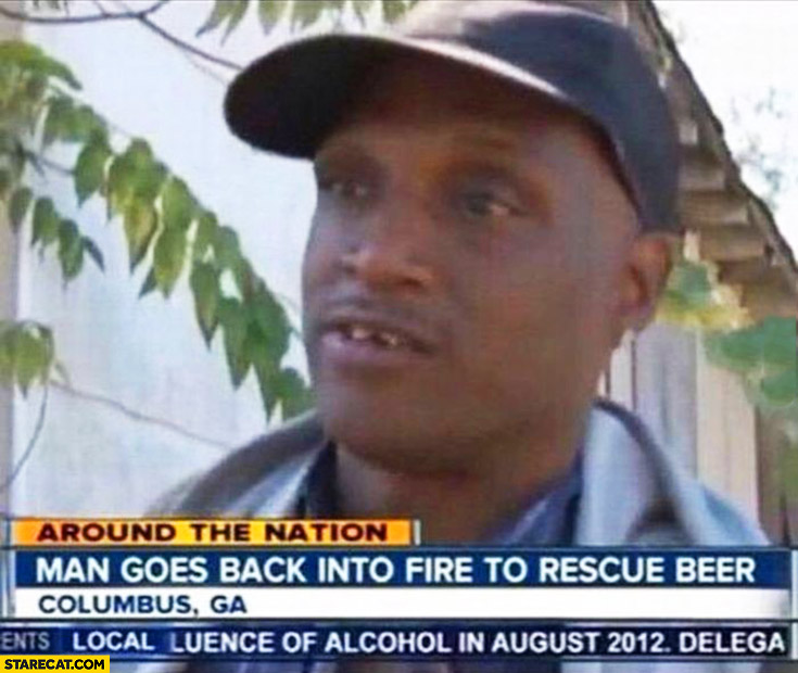 Man goes back into fire to rescue beer TV interview