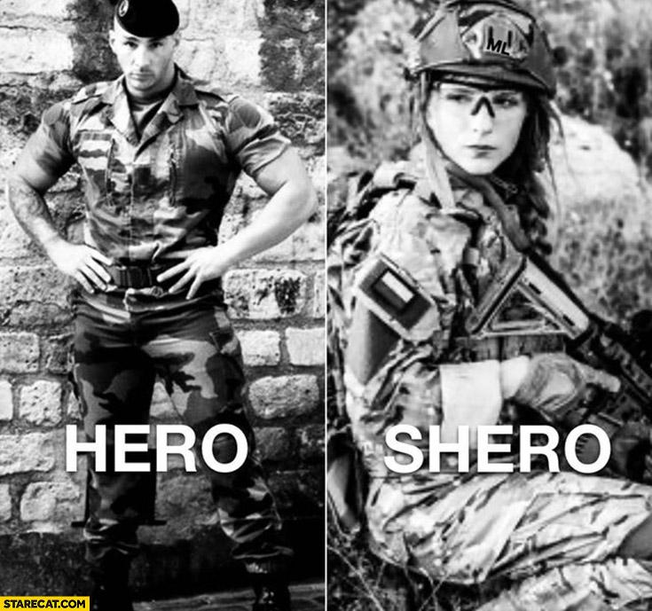 Man hero woman shero soldiers