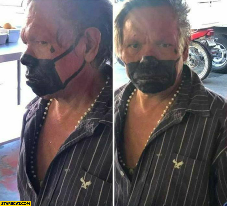 Man painted black facemask on his face