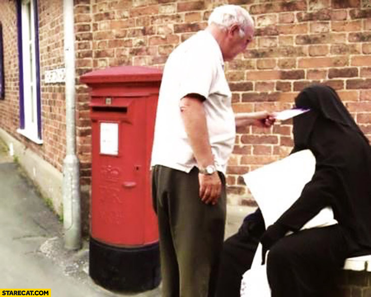 Man posting a letter muslim woman burqa fail