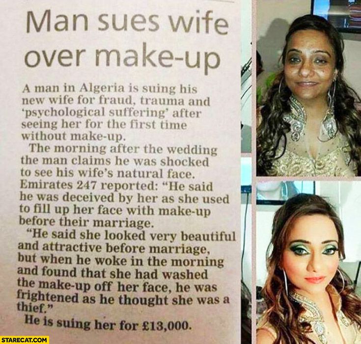 Man sues wife over make up Algeria