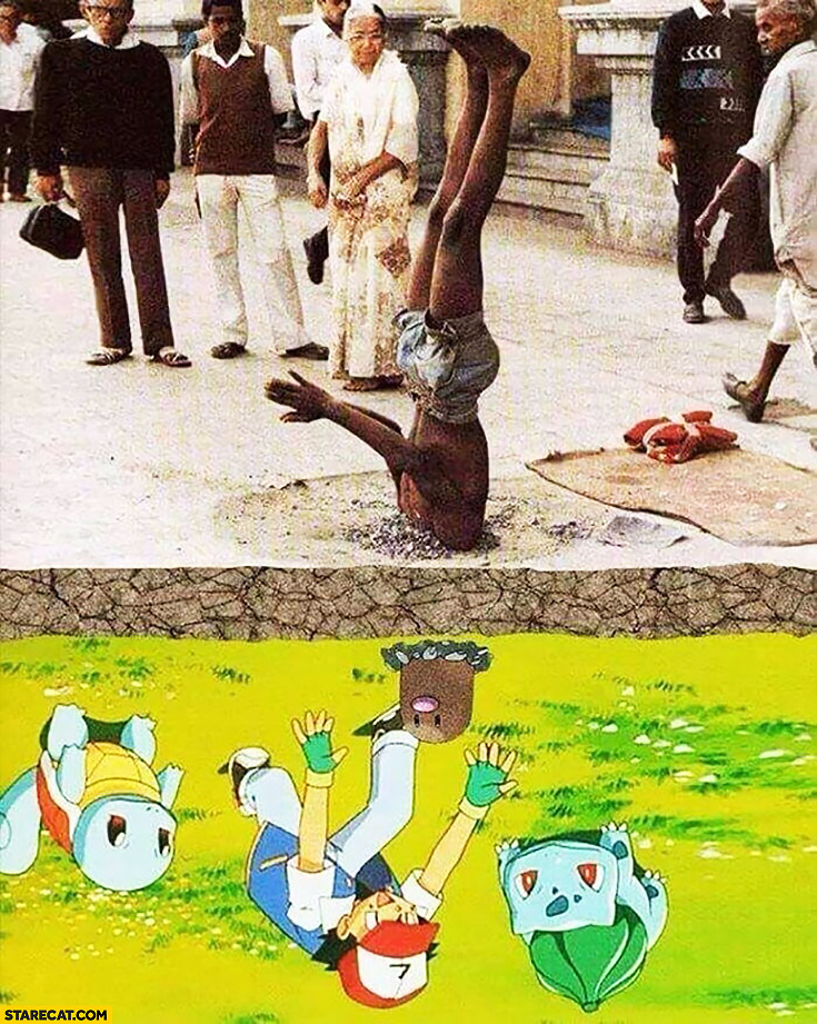 Man upside down Pokemon head out of the ground