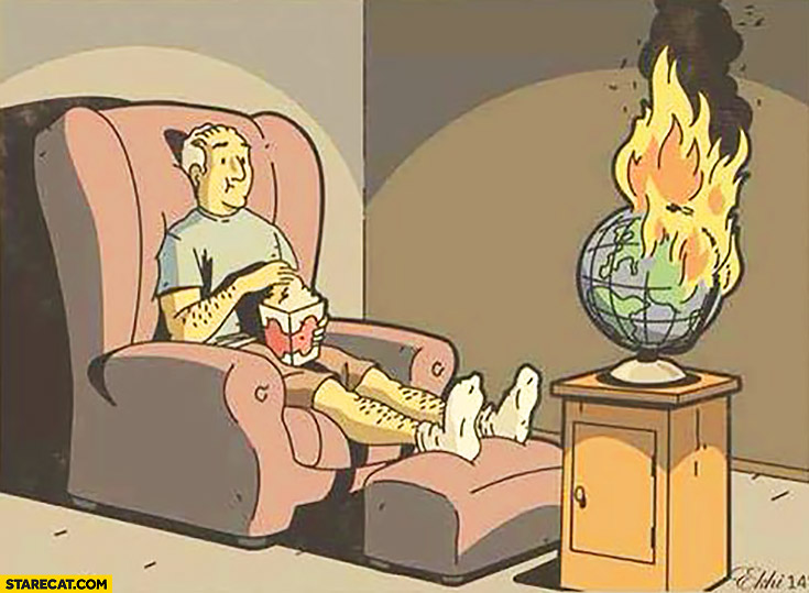 Man watching the world burn drawing