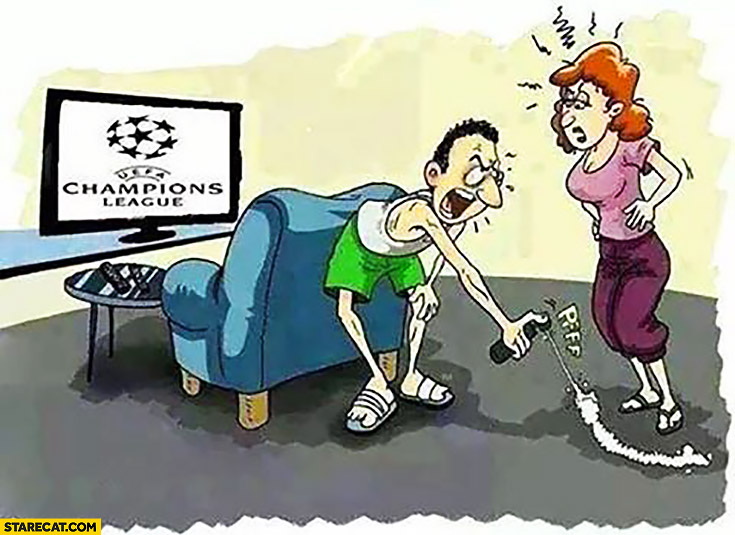 Man watching UEFA Champions League sprays line for his wife not to cross