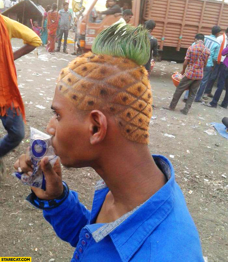Man with pineapple hairstyle