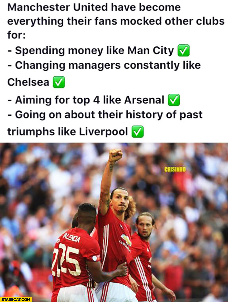 Manchester United have become everything their fans mocked other clubs for spending money like Man City, changing managers constantly, aiming for top 4, going on about their history of past triumphs