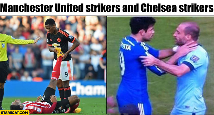 Manchester United strikers and Chelsea strikers comparison