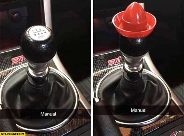 Manual vs manuel shifting knob with mexican hat on it