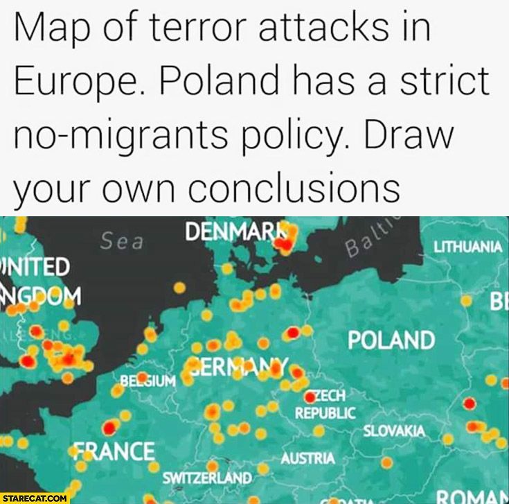 Map of terror attacks in Europe Poland has a strict no migrants policy, draw your own conclusions