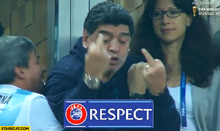 Maradona on football match showing middle fingers respect logo