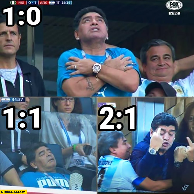 Maradona on match reacts to the score middle fingers when winning