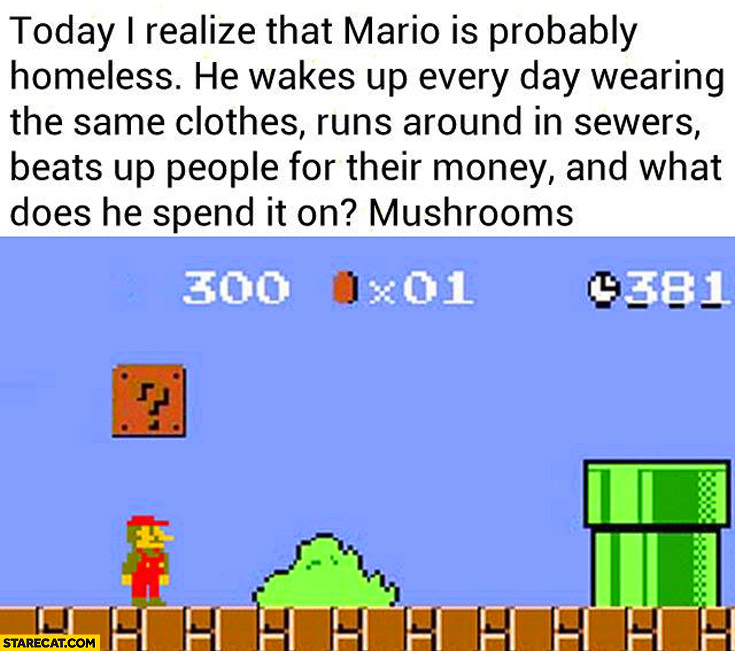 Mario is probably homeless wearing same clothes runs around in sewers beats up people for their money spends it on mushrooms
