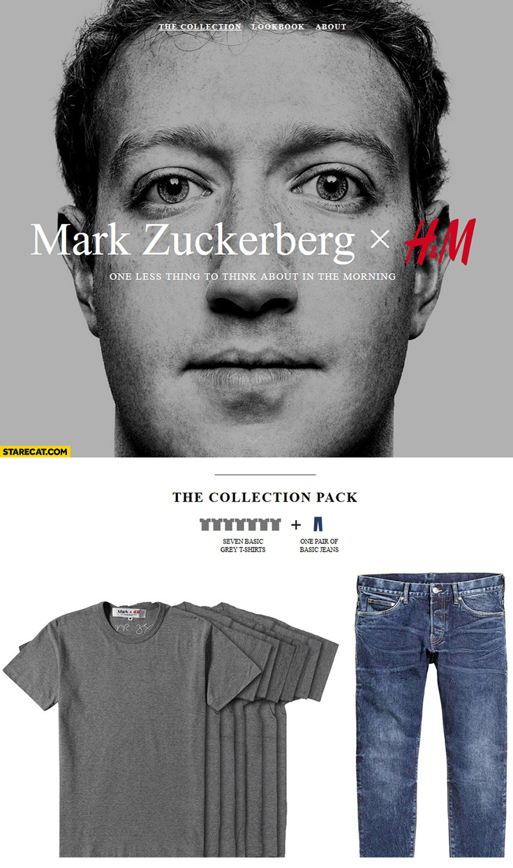 Mark Zuckerberg H&M collection seven basic t-shirts, one pair of basic jeans. One less thing to think about in the morning