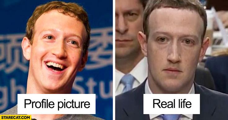 Mark Zuckerberg in congress profile picture vs real life comparison