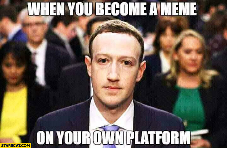 Mark Zuckerberg when you become a meme on your own platform