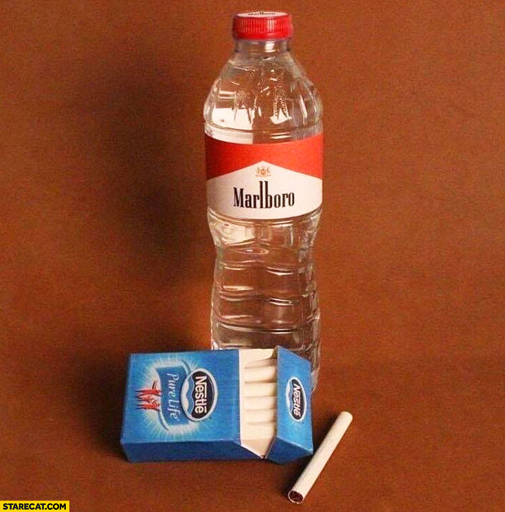 Marlboro Nestle packaging swap mind blown mineral water cigarettes
