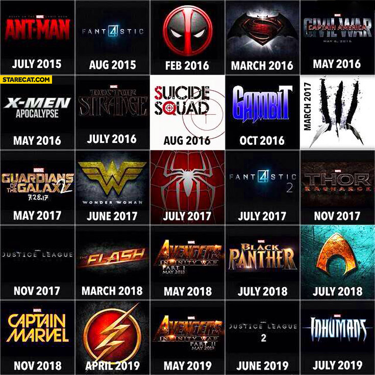 Marvel movie premieres in coming years