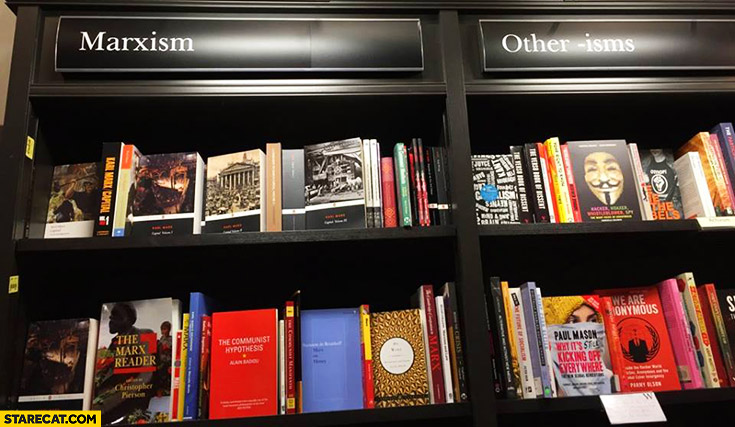 Marxism, other -isms library book store shelves