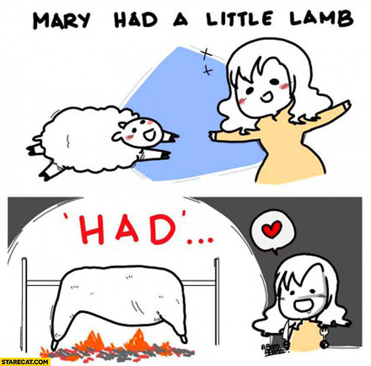 Mary had a little lamb had cooking
