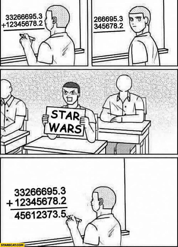 Math help showing him Star Wars sign movies order 456123735 4, 5, 6, 1, 2, 3, 7, 3.5