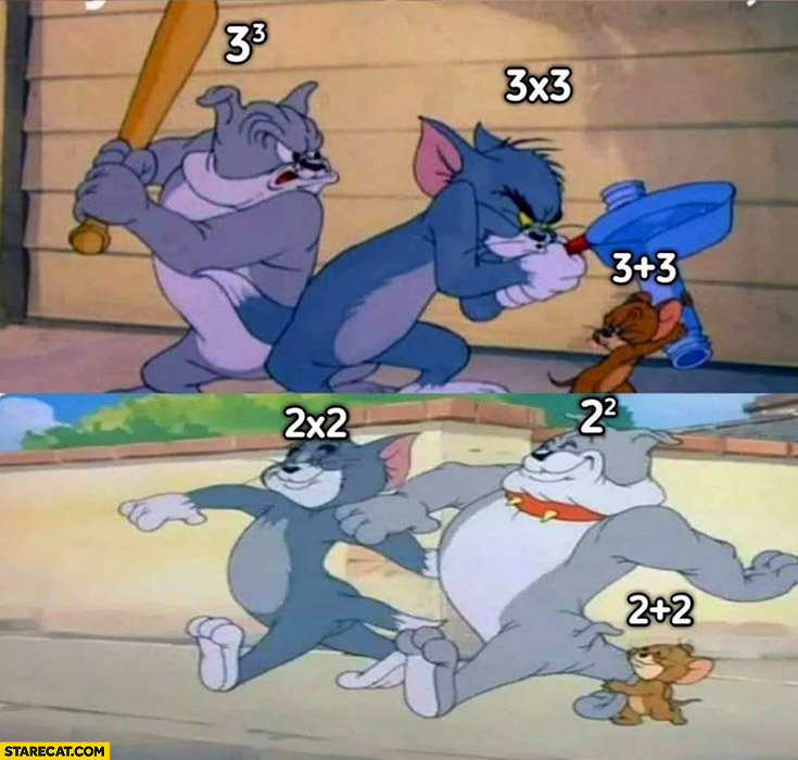 Math operations calculations with 3 vs with 2 Tom and jerry
