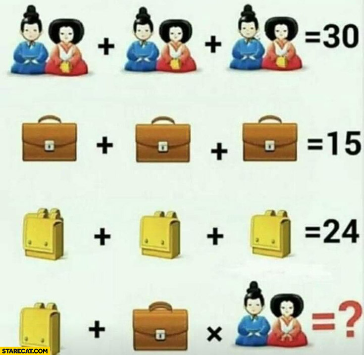 Math riddle equation with a twist yellow backpack