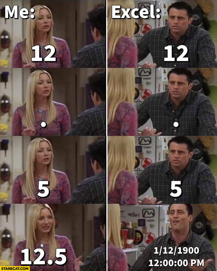 Me vs Excel assuming number is a date Joey friends