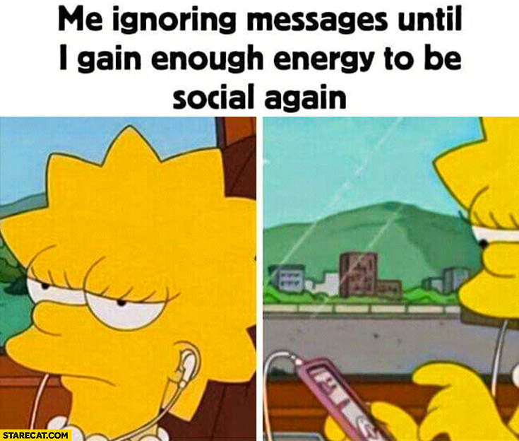 Me ignoring messages until I gain enough energy to be social again the Simpsons Lisa Simpson