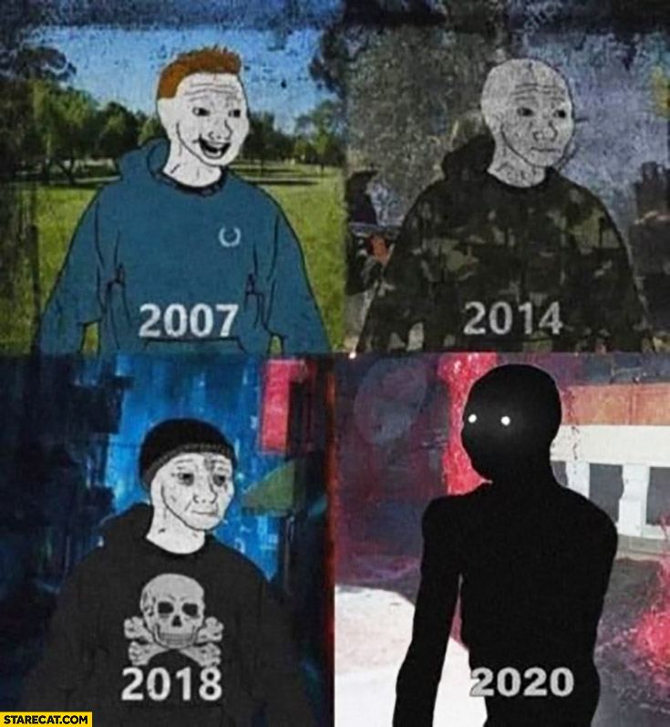 Me in years: 2007, 2014, 2018, 2020 darkness comparison