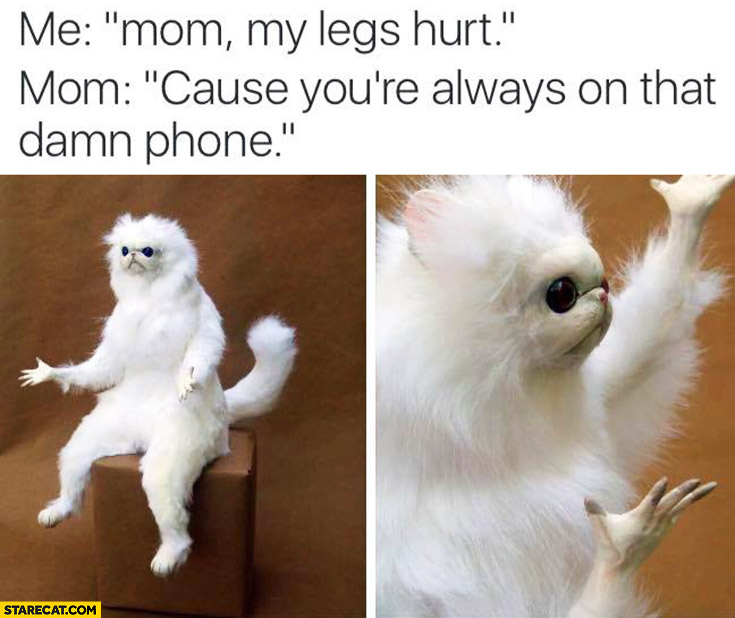 Me: mom, my legs hurt. Mom: cause you're always on that damn phone