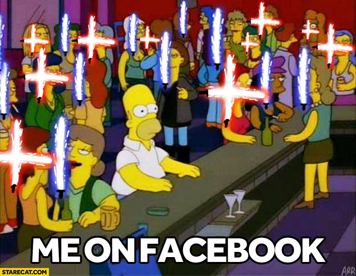 Me on facebook now everyone with lightsaber profile picture Simpsons