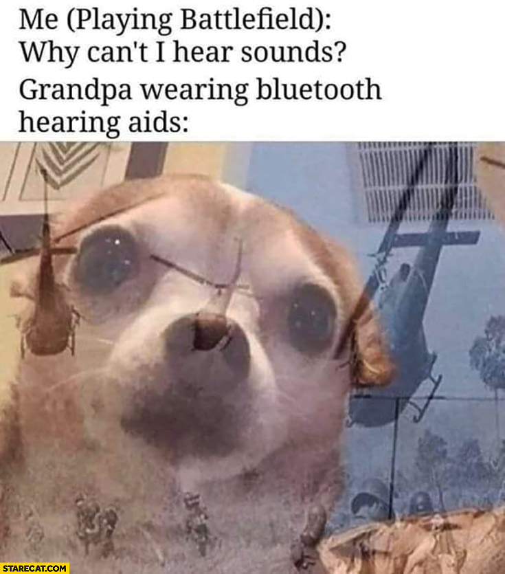 Me playing Battlefield: why can't I hear sounds? Grandpa wearing bluetooth hearing airs memories from war