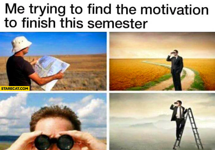 Me trying to find the motivation to finish this semester