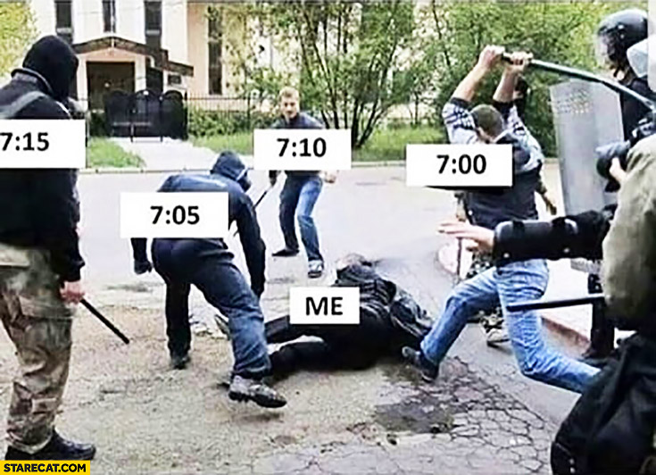 Me vs morning alarm clock beaten up