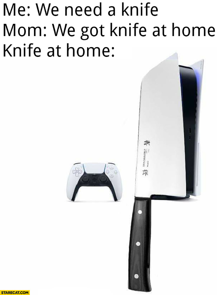 Me: we need a knife, mom: we got knife at home PS5
