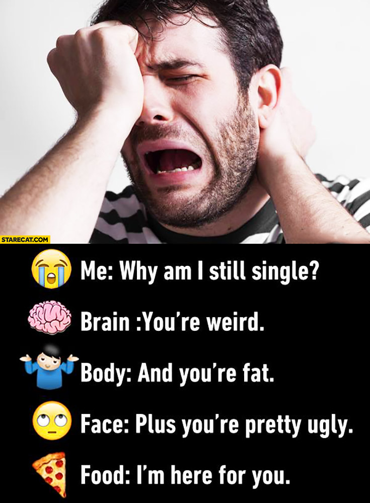 Me: why am I still single? Brain: you're weird. Body: and you're fat. Face: plus you're pretty ugly. Food: I'm here for you