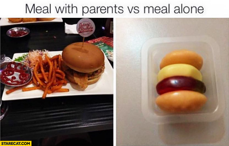 Meal with parents vs meal alone fail