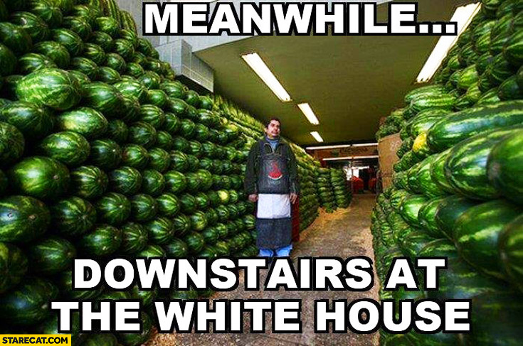Meanwhile downstairs at the White House watermelons Obama
