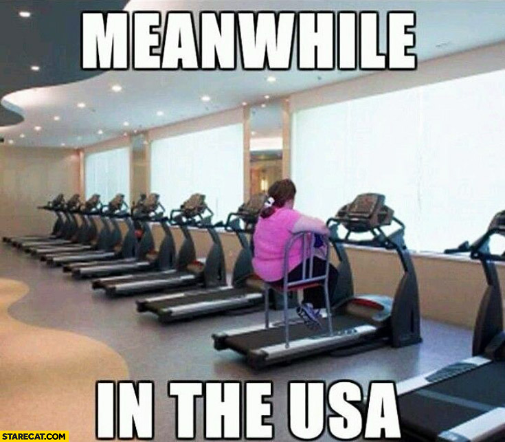 Meanwhile in the USA fat lady woman chair on the treadmill