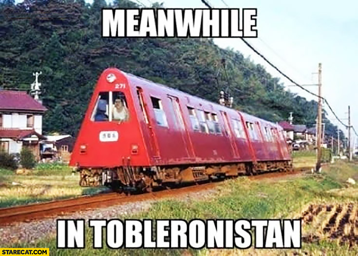 Meanwhile in Tobleronistan train in shape of Toblerone chocolates