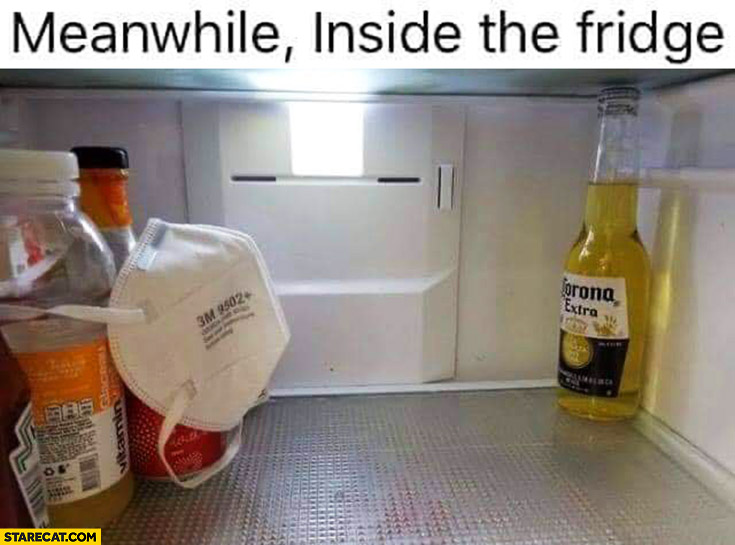 Meanwhile inside the fridge corona beer separated from rest of food products wearing mask